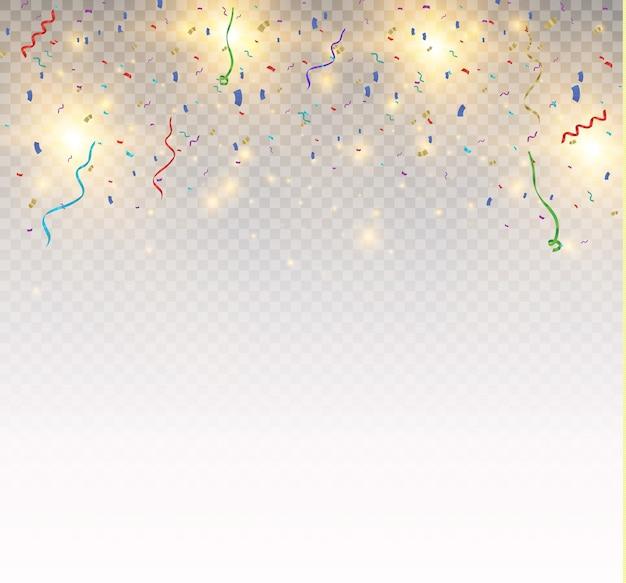 Confetes coloridos brilhantes isolados em fundo transparente