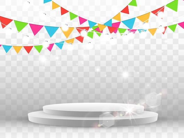 Confetes coloridos caem no pódio. pódio branco realista com holofotes. primeiro lugar. de um feriado.