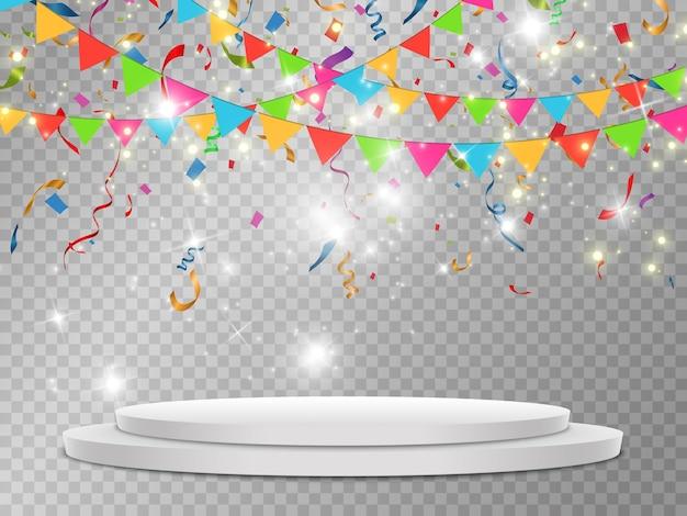Confetes coloridos caem no pódio. pódio branco realista com holofotes.
