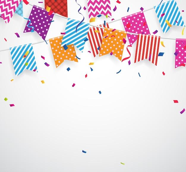 Confetes coloridos caindo com bandeiras fundo de estamenha