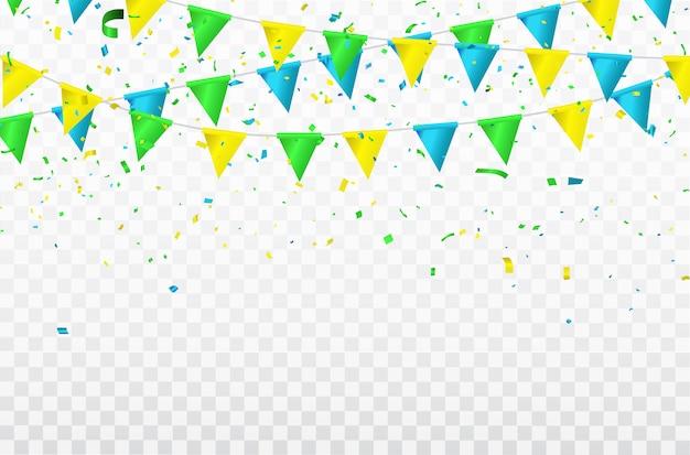Confetes coloridos celebração fitas de carnaval.