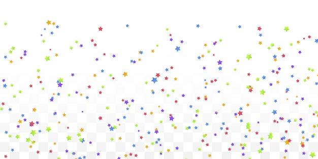 Confetes coloridos de estrela para cartões postais, aniversário.