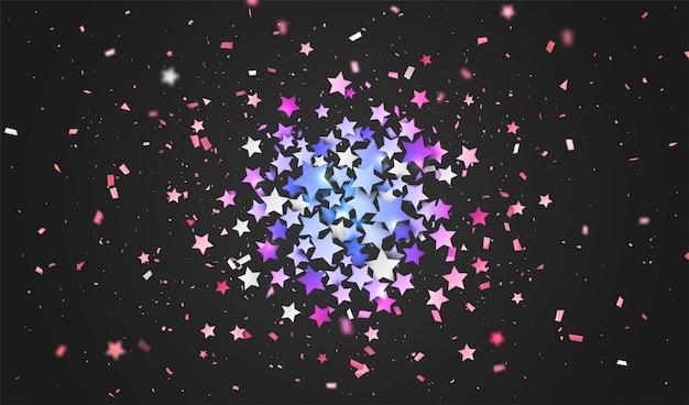 Confetes coloridos de estrelas. fundo de férias
