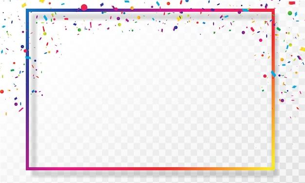 Confetes coloridos de quadro celebração carnaval fitas.