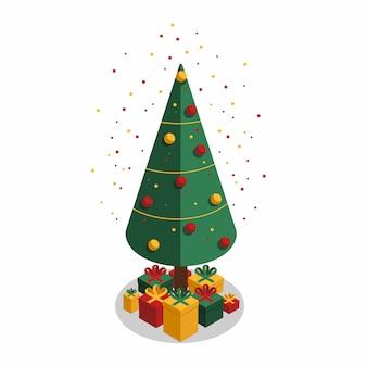 Confetes coloridos e árvore de natal festiva com presentes