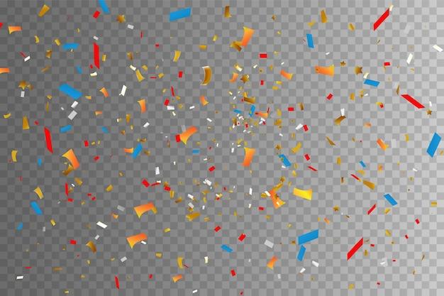 Confetes coloridos e bolas isoladas. vetor de fundo festivo. feliz aniversário. banners de convite para festa de aniversário