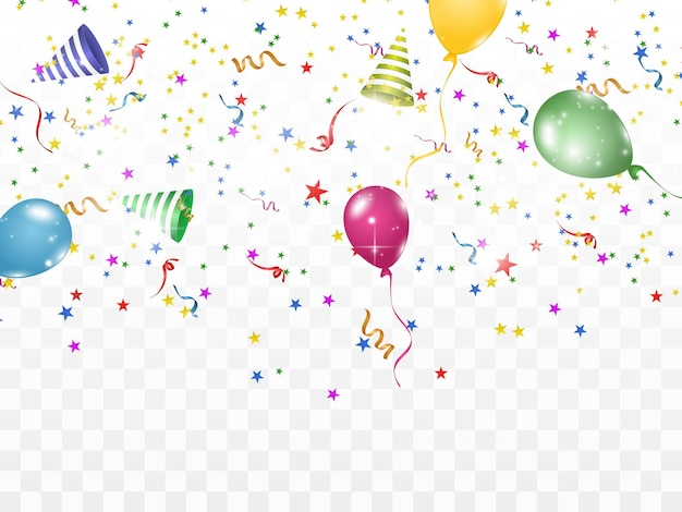 Confetes coloridos e bolas isoladas vetor de fundo festivo feliz aniversário, feriado