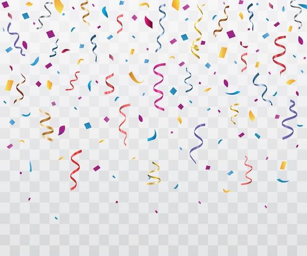 Confetes coloridos e fitas em um fundo transparente, caindo de decorações de festa