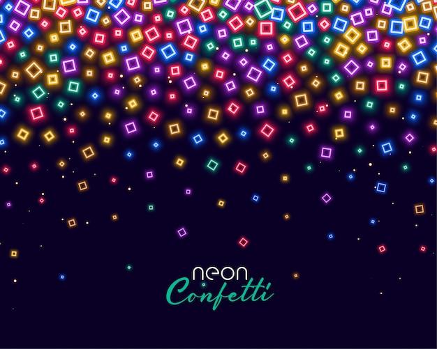 Confetes coloridos em luzes brilhantes de néon
