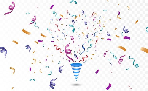 Confetes coloridos em um fundo branco. de fundo vector alegre festivo. cone com confete.
