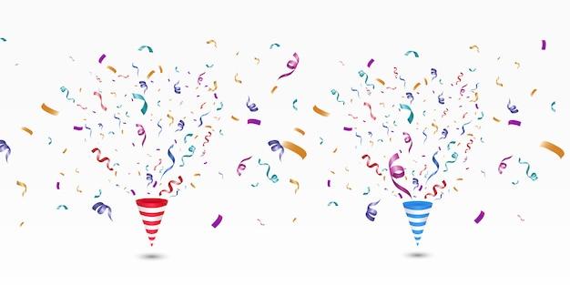 Confetes coloridos em um fundo branco. fundo alegre festivo. cone com confete.