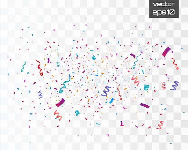 Confetes coloridos isolados no fundo branco. comemore a ilustração vetorial