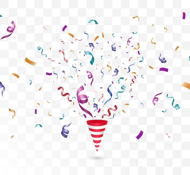 Confetes coloridos sobre um fundo branco. cone com confete.