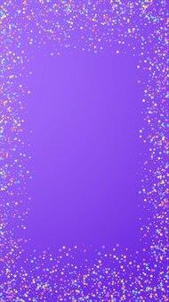 Confetes criativos festivos. estrelas de celebração. estrelas coloridas pequenas em fundo violeta. modelo de sobreposição festivo gracioso. fundo vertical do vetor.