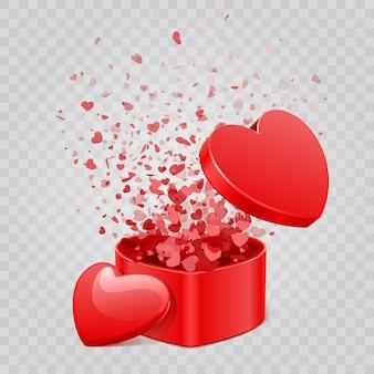 Confetes de caixa de presente e corações isolados em fundo transparente.