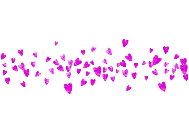 Confetes de casamento com corações rosa glitter. dia dos namorados. fundo do vetor. textura de mão desenhada. tema de amor para panfleto, oferta especial de negócios, promoção. modelo de confete de casamento com corações.