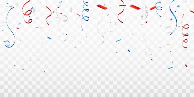 Confetes de celebração e fitas vermelhas e azuis.