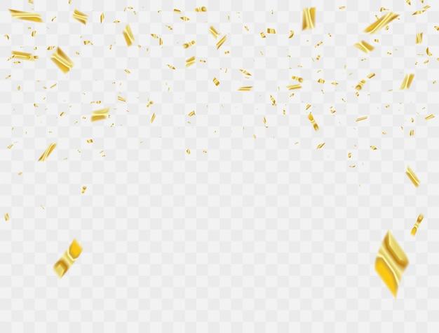 Confetes de celebração fitas de ouro.
