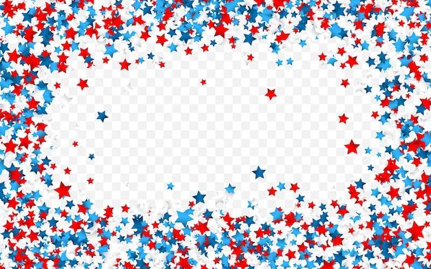 Confetes de celebração nas cores nacionais dos eua. confetes de férias nas cores da bandeira americana. 4 de julho dia da independência
