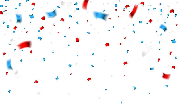 Confetes de celebração nas cores nacionais dos eua. confetes de férias nas cores da bandeira dos estados unidos. fundo do dia da independência 4 de julho.