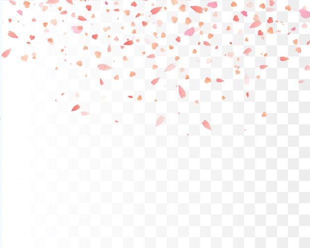 Confetes de coração caindo isolado.