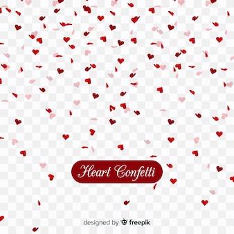 Confetes de coração em plano de fundo transparente