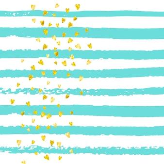 Confetes de corações de glitter dourados em listras turquesas. lantejoulas aleatórias brilhantes com brilhos metálicos. modelo com corações de glitter dourados para convite de festa, banner de evento, panfleto, cartão de aniversário.