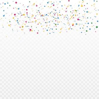 Confetes de estrelas coloridas. celebração e festa