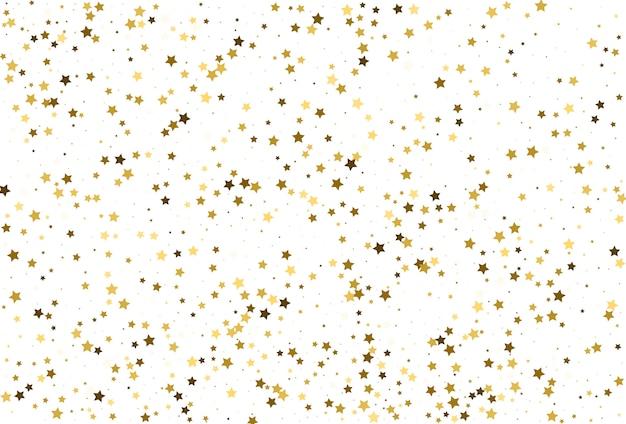 Confetes de estrelas douradas. decoração de festa natalícia.