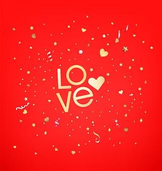 Confetes de estrelas e corações. texto de amor