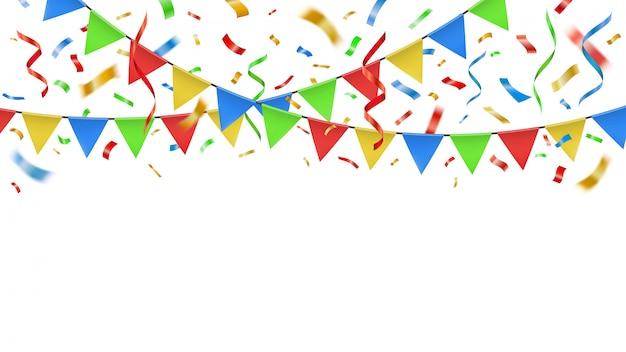 Confetes de festa e bandeiras de cor. flâmulas de papel decorativo de celebração, explosão de confetes de banner de festa de aniversário e ilustração de guirlanda de carnaval modelo festivo de estamenha
