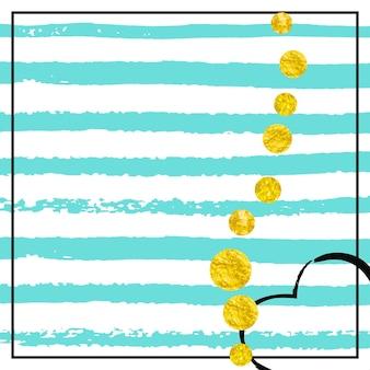 Confetes de glitter dourados com pontos em listras turquesas. lantejoulas caindo brilhantes com brilho e brilhos. modelo com confete de glitter dourados para convite de festa, banner, cartão de felicitações, chá de panela.