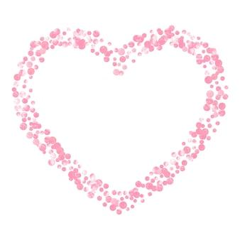 Confetes de glitter rosa com pontos no fundo isolado.