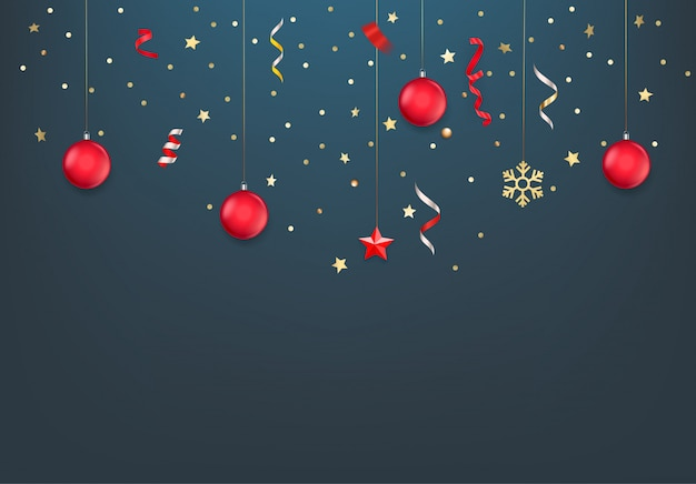 Confetes de natal, enfeites, estrelas e fitas.