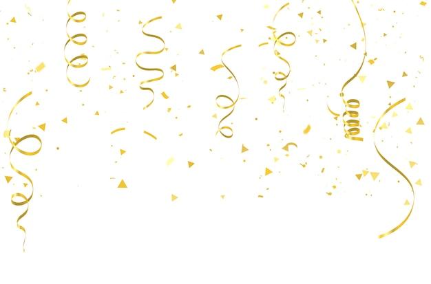 Confetes de ouro celebração fitas de carnaval.