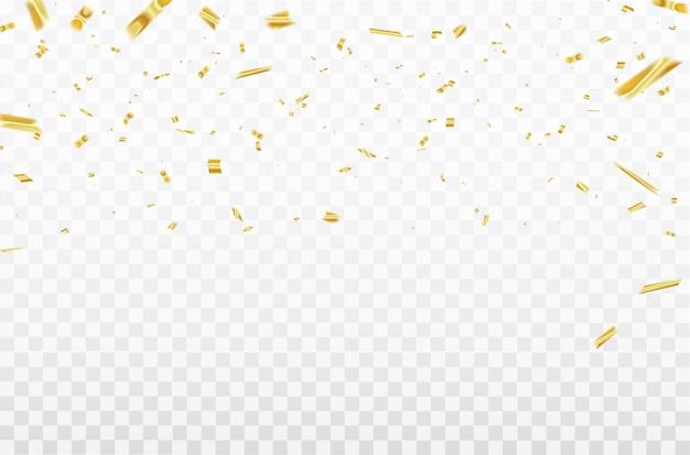 Confetes de ouro fitas de carnaval de celebração.