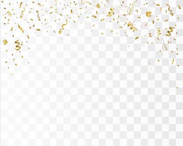 Confetes de ouro isolado. comemore a ilustração vetorial