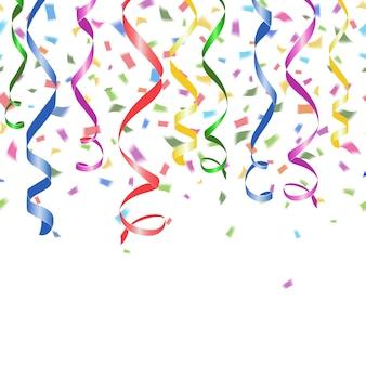 Confetes de papel coloridos caindo e serpentinas de festa giradas em um branco
