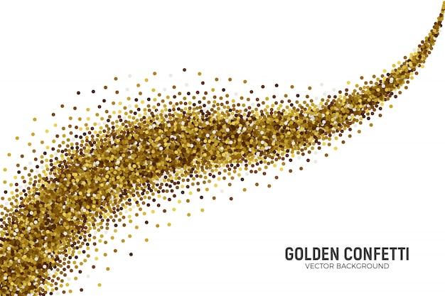 Confetes dispersos de ouro sobre fundo branco