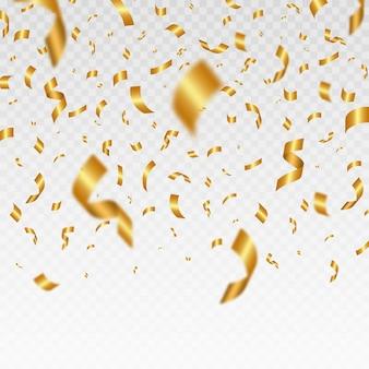 Confetes dourados brilhantes caindo o ouropel festivo brilhante da cor do ouro.