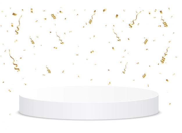 Confetes dourados caem no pódio. conceito de cerimônia de premiação