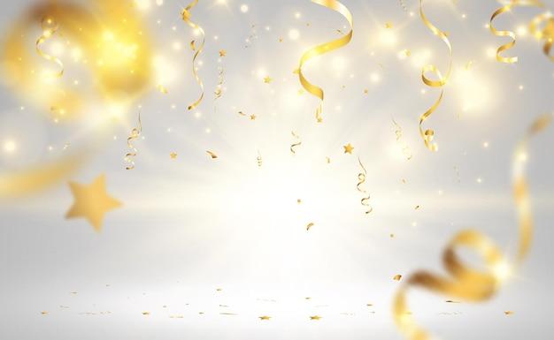 Confetes dourados caem sobre um lindo fundo serpentinas caindo no palco