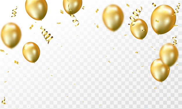 Confetes e balões de ouro