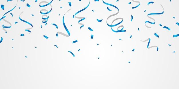 Confetes e fitas azuis. modelo de plano de fundo de celebração com