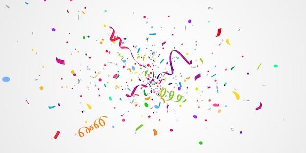 Confetes e fitas coloridas. fundo de celebração