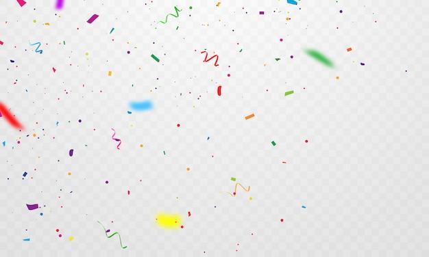 Confetes e fitas coloridas. modelo de plano de fundo de celebração com