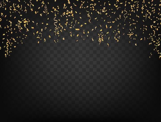 Confetes e fitas no escuro