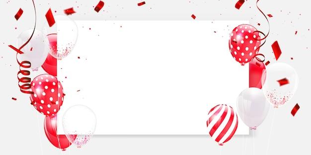 Confetes e moldura de balões brancos vermelhos