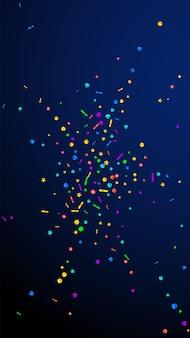 Confetes elegantes festivos. estrelas de celebração. confetes festivos em fundo azul escuro. modelo de sobreposição festivo fresco. fundo vertical do vetor.