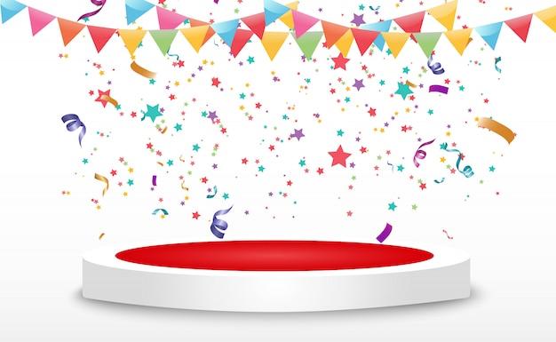 Confetes minúsculos coloridos e fitas em fundo transparente. evento festivo e festa. fundo multicolor. confetes coloridos brilhantes isolados no pódio.